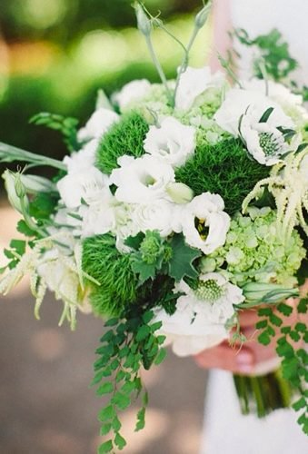 green wedding florals white green bouquet katyweaverphotography