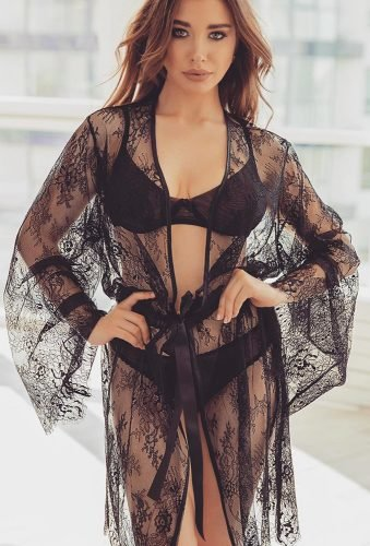 honeymoon lingerie black set with robe desirexlingerie