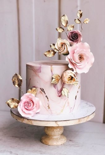 marble wedding cakes cake with metallic flowers duchess bakes⁣
