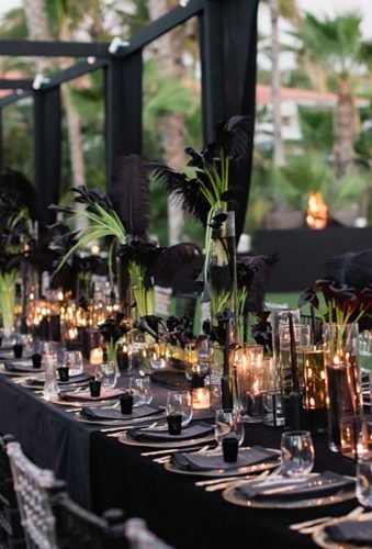 modern wedding decor dlack wedding receptions katherine rose