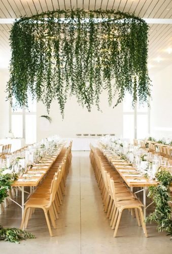 modern wedding decor greenery hanging decor Nichols Photographers