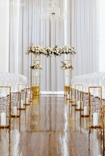 modern wedding decor modern aisle Emilie Olson Photography