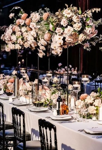 modern wedding decor tall centerpiece qith flowers dianekhouryweddingsandevents