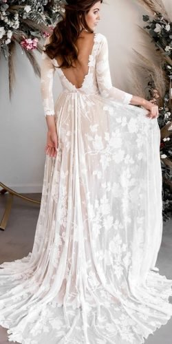 rustic wedding dresses a line open back with long sleeves country wearyourlovexo