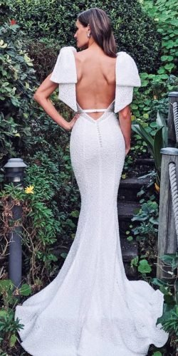 sexy wedding dresses ideas mermaid open back sequins pallascouture