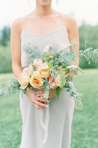 small wedding bouquets blush bouquet with ribbon Lauren Fair Photography
