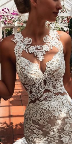 tattoo effect wedding dresses illusion lace neckline for beach enzoani