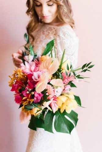 tropical wedding bouquets beautiful colorful bouquet xo fetti photo