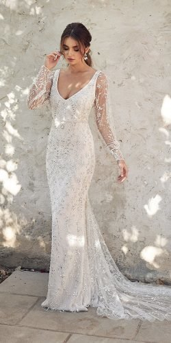 vintage inspired wedding dresses sheath v neckline with illusion long sleeves jeweled anna campbell