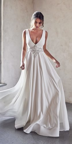vintage inspired wedding dresses simple a line v neckline beaded anna campbell