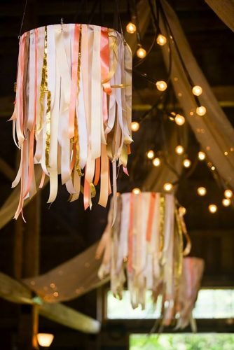 wedding hanging installations peach ribbons Maine Seasons Events