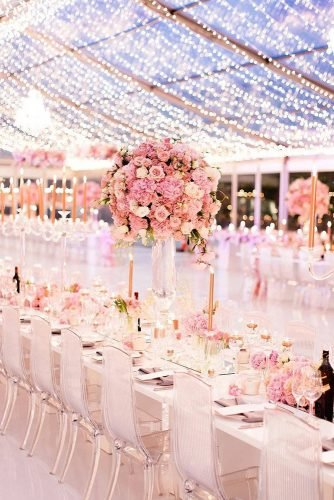wedding trends 2020 light pink reception under the tent tall roses centerpieces genevieve_fundaro