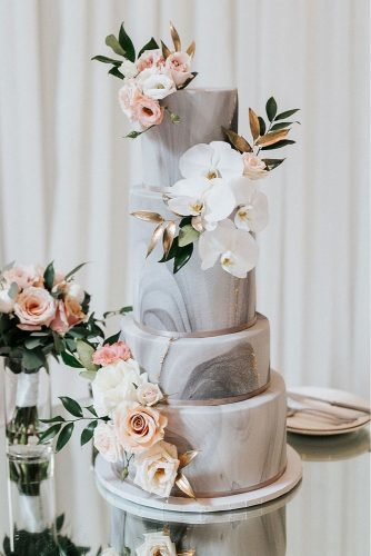 wedding trends 2020 tall marble and gold bridal cake with white orchids and pink roses eyekahfoto