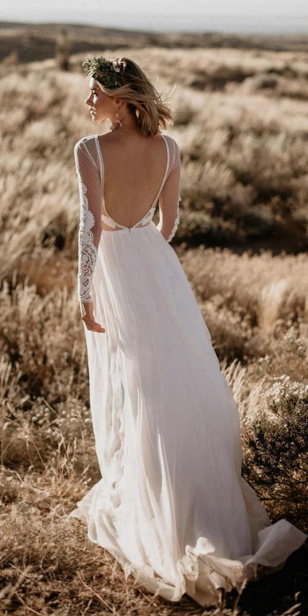 backless wedding dresses backless with long sleeves country dreamers and lovers
