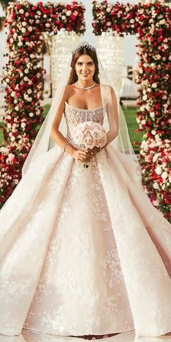 ball gown wedding dresses blush strapless lace princess michaelinco
