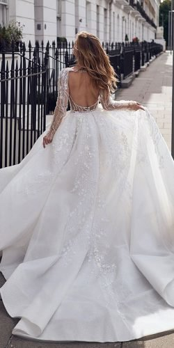 ball gown wedding dresses open back with illusion long sleeves pallascouture