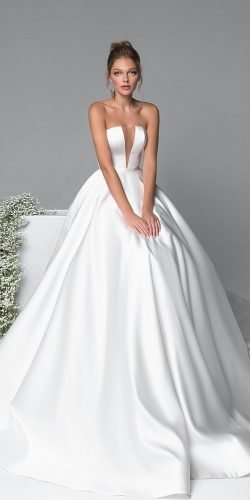 ball gown wedding dresses simple strapless neckline evalendel