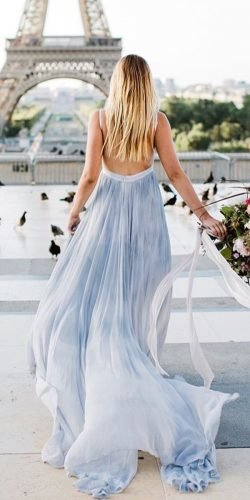 blue wedding dresses a line backless with spaghetti straps ombre leannemarshall