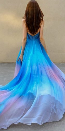 blue wedding dresses dark blue with spaghetti straps with train ombre leannemarshall
