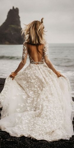 country style wedding dresses a line backless with illusion long sleeves berta