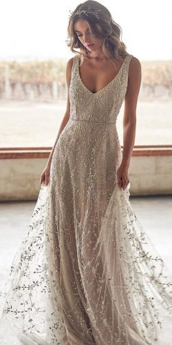 country style wedding dresses a line v neckline beaded jeweled vintage annacampbellbridal