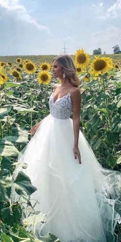 country style wedding dresses ball gown with spaghetti straps lace top misshayleypaige