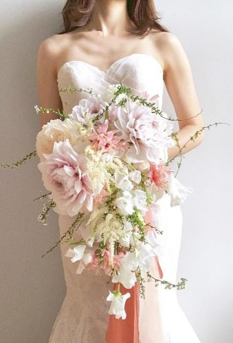 dahlias wedding bouquets cascade bouquet poetiquefloral