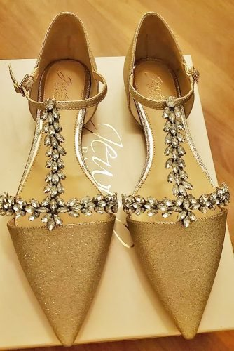 flat wedding shoes gold with crystal sparkle badgley mischka