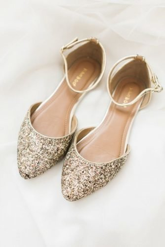 flat wedding shoes sequins sparkle gold shea christine