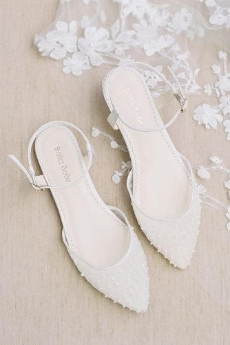 flat wedding shoes simple with pearls white bellabelleshoes