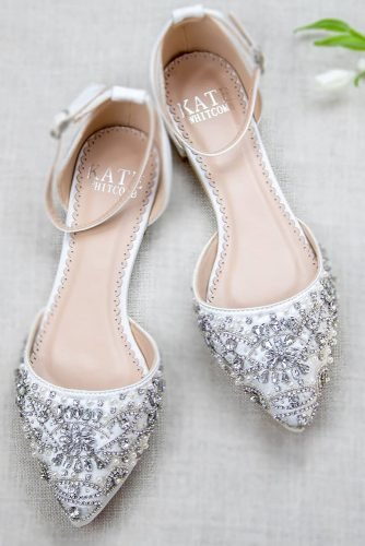 flat wedding shoes sparkle with crystal comfortable kate whitcomb