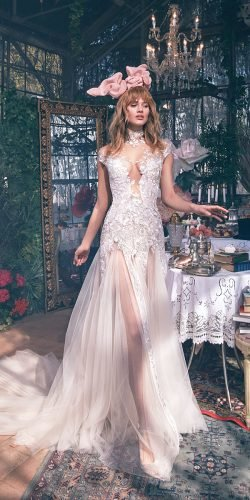 galia lahav wedding dresses a line with plunging sweetheart neckline cape sleeves illusion high neck