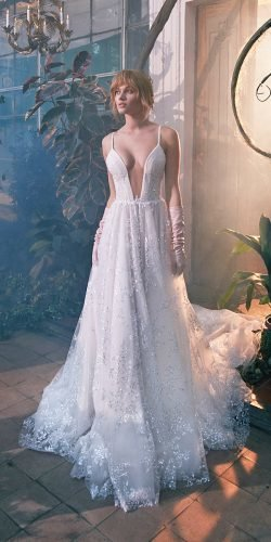 galia lahav wedding dresses ball gown with spaghetti straps deep v neckline sequins 2020