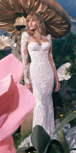 galia lahav wedding dresses mermaid with illusion long sleeves sweetheart neckline lace