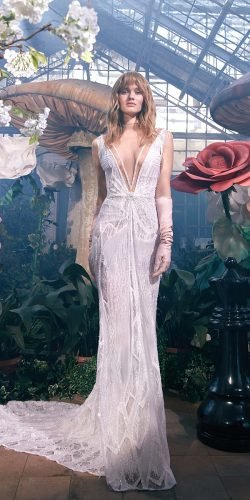 galia lahav wedding dresses sheath sexy plunging neckline assymetrical with train
