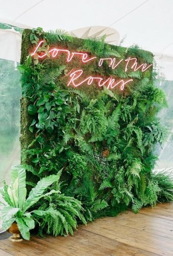 greenery wedding decor greenery backdrop neon sign Rachel Havel
