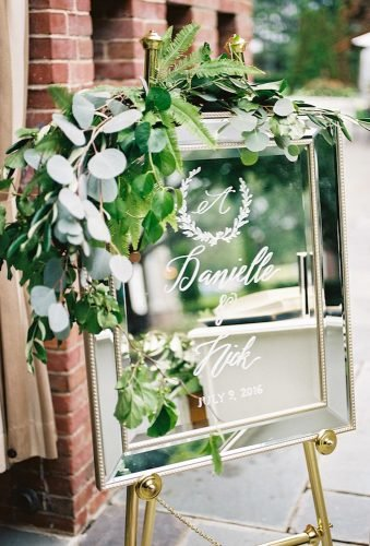 greenery wedding decor mirror sign Michelle Lange Photography