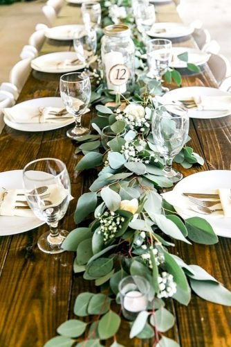 greenery wedding decor table decoretion Rabecca Cruz Photography