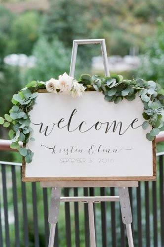 greenery wedding decor wedding sign Tamara Gruner Photography