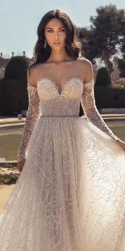 hottest wedding dresses 2020 a line sweetheart neckline with detached sleeves sexy beach julievino