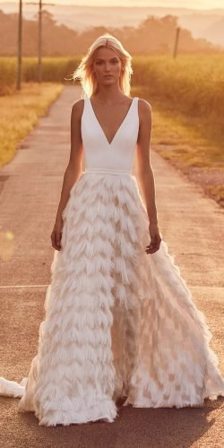 hottest wedding dresses 2020 a line v neckline feather skirt simple suzanne harward