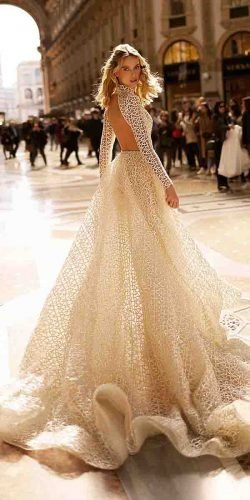 hottest wedding dresses 2020 a line with long sleeves open back crochet lace berta