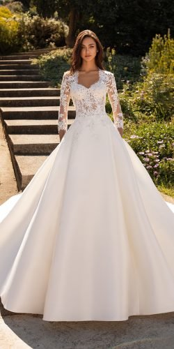 hottest wedding dresses 2020 a line with sleeves lace top pronovias
