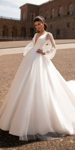 hottest wedding dresses 2020 ball gown deep v neckline with long sleees simple millanova