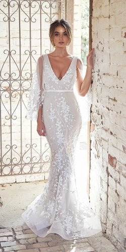 hottest wedding dresses 2020 mermaid plunging neckline with sleeves lace floral anna campbell