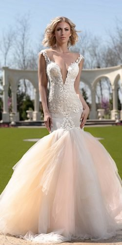 hottest wedding dresses 2020 mermaid sexy deep v neckline lace blush tulle skirt naama and anat