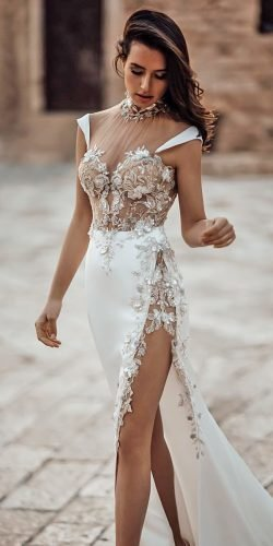 hottest wedding dresses 2020 modern for beach illusion neckline with 3d floral galialahav