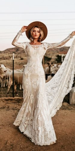 hottest wedding dresses 2020 sheath with long sleeves boho dreamersandlovers