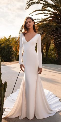 hottest wedding dresses 2020 sheath with long sleeves v neckline simple pronovias