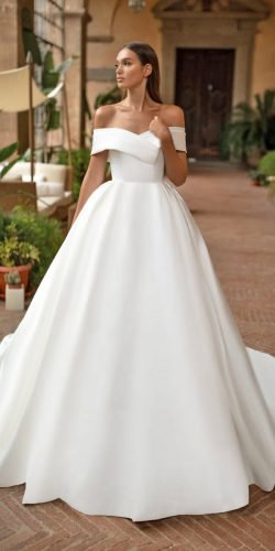 hottest wedding dresses 2020 simple ball gown off the shoulder strapless millanova